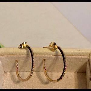 NWT Anthropologie Rainbow Stud Gold Hoop Earrings